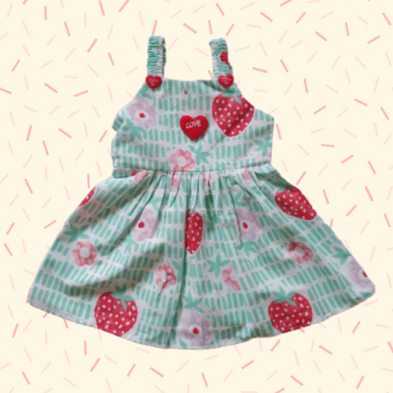 Baby Girl Green & Red Frock With Heart