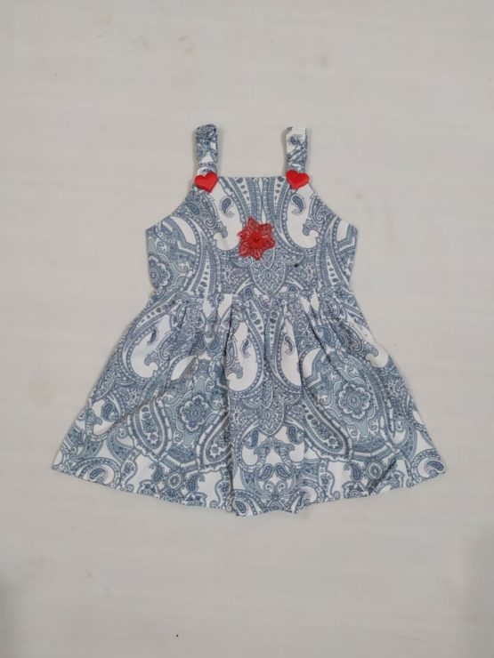 Baby Girl Grey Frock With Red Flower