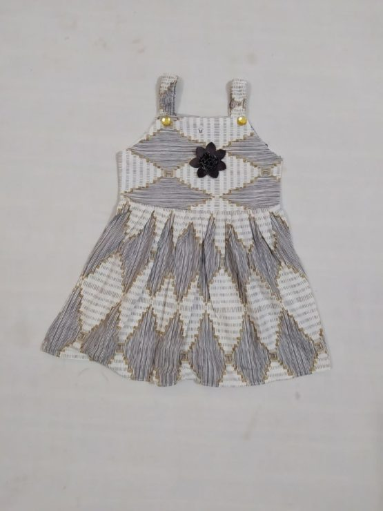 Baby Girl Grey & White Pattern Frock With Flower