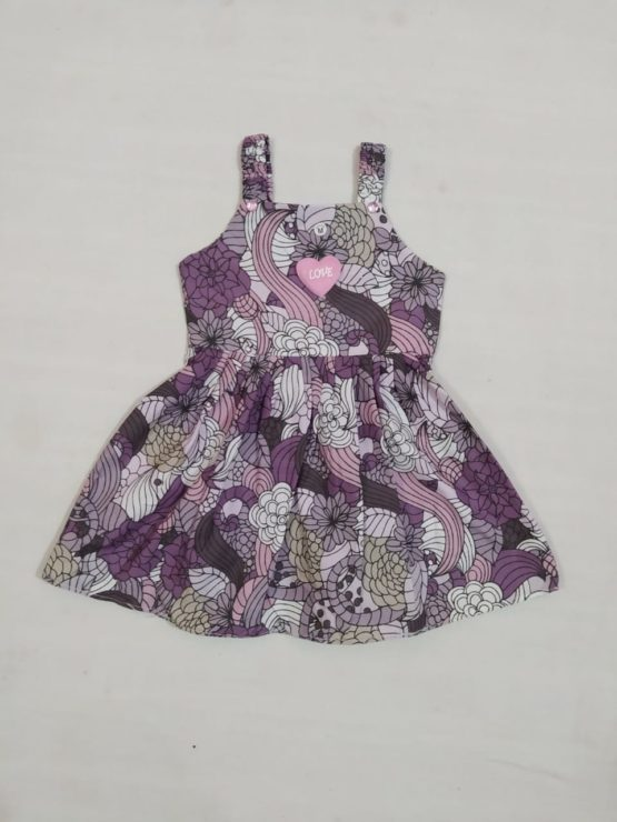 Baby Girl Multicolor Purple Frock With Flower