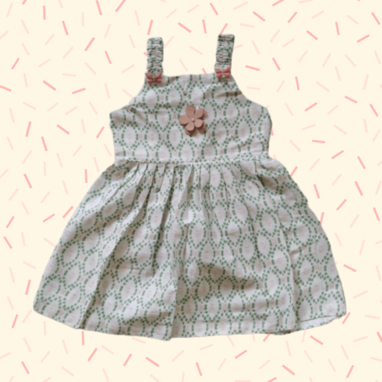 Baby Girl White & Green Check Frock With Flower