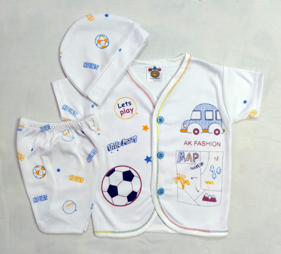 Lets Play Blue New Born Baby Boy Suit